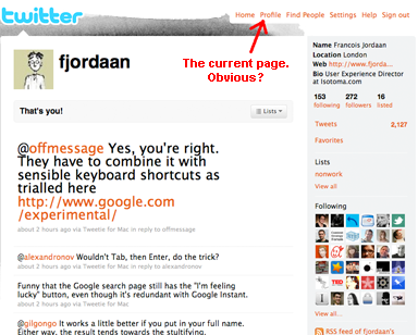 Twitter Profile page highlighting top navigation