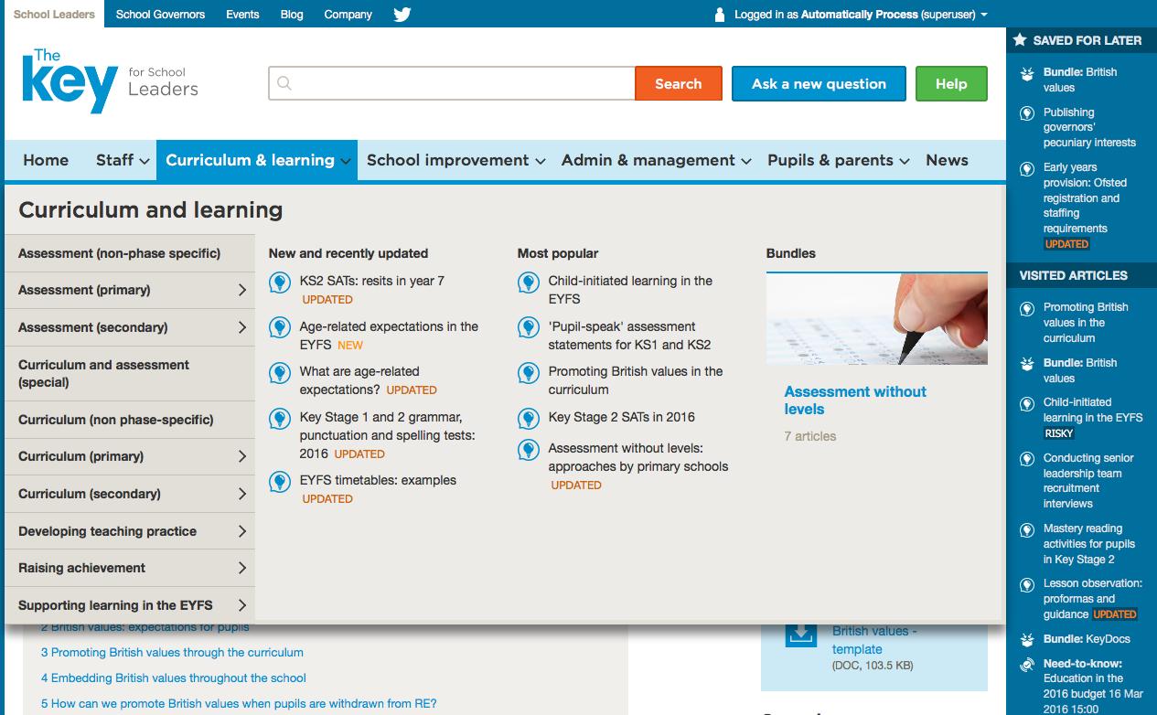 The Key screenshot showing dropdown navigation menu
