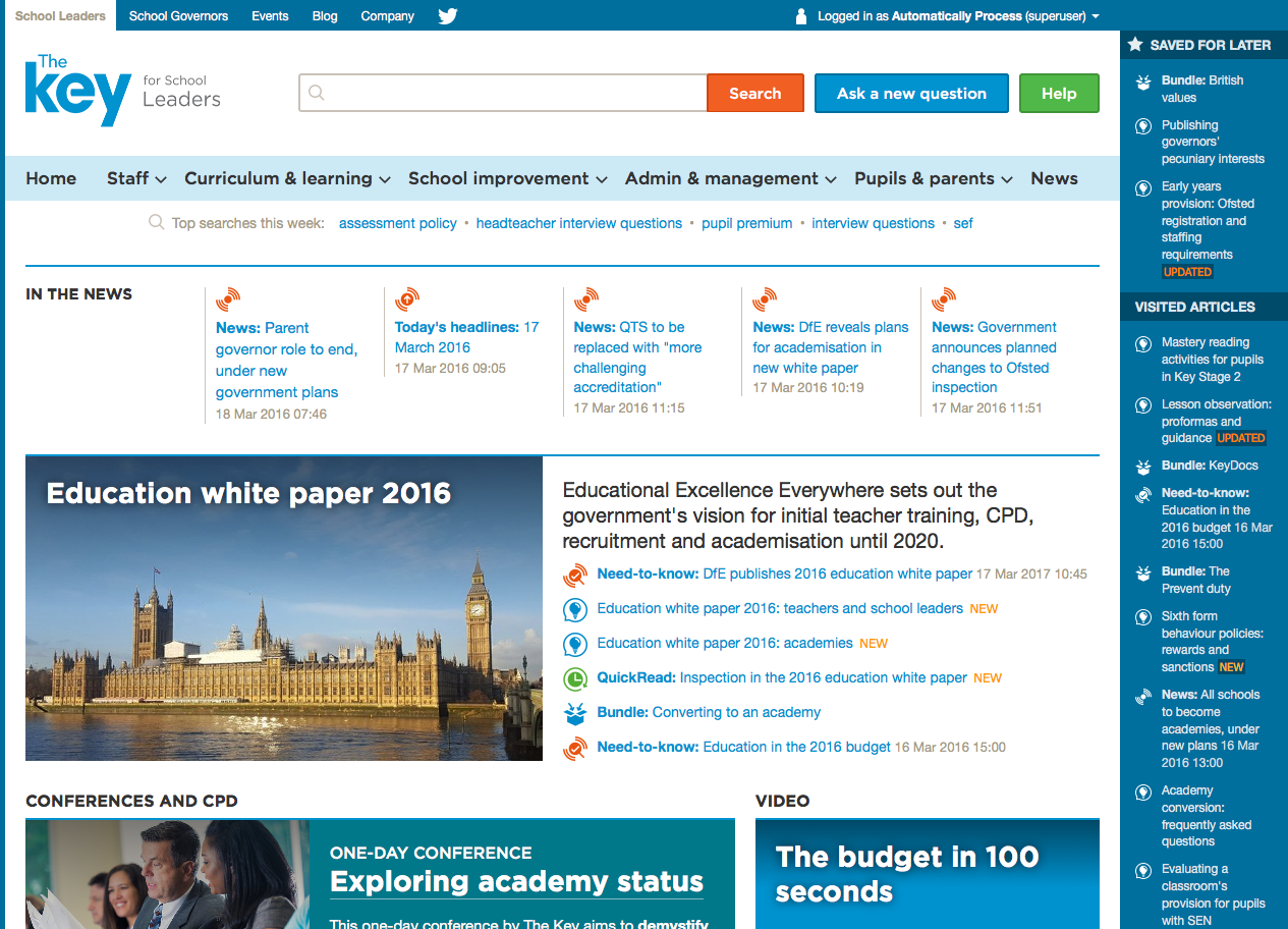 Screenshot of The Key member homepage