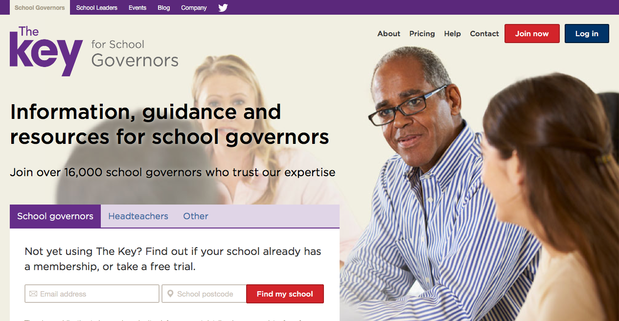 Screenshot of The Key for School Governors homepage
