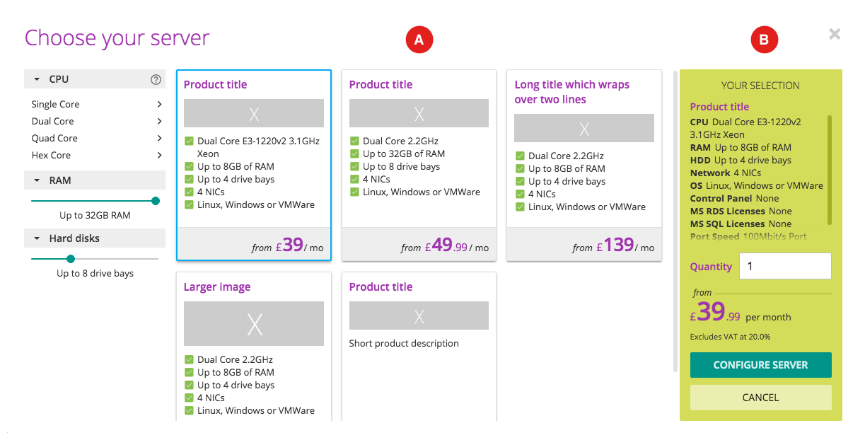 Screenshot of product grid and summary box