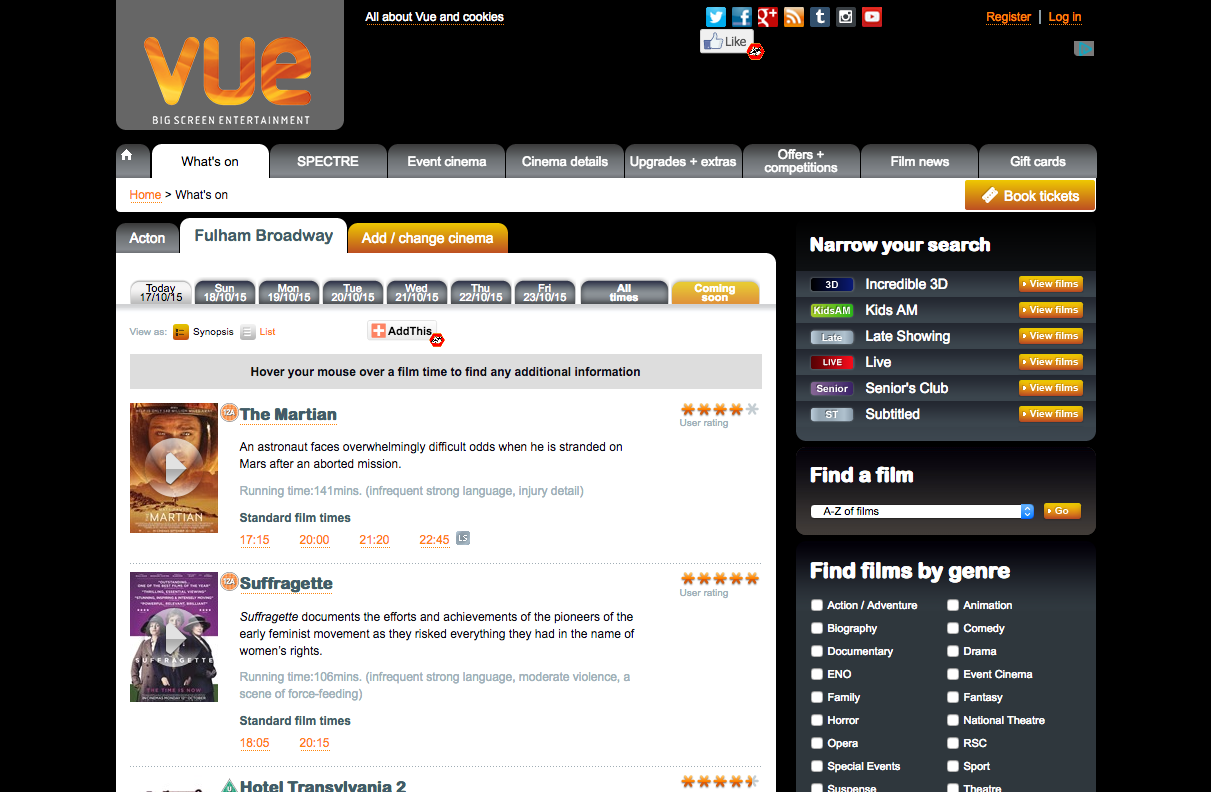 Screenshot of Myvue website from 2015
