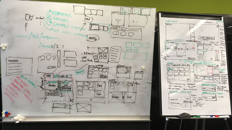 Whiteboards at BBC R&D showing early SOMA designs